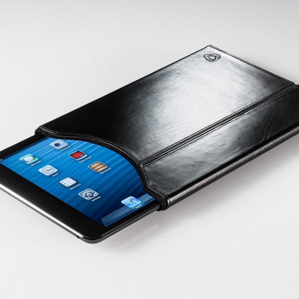 Black leather tablet cover